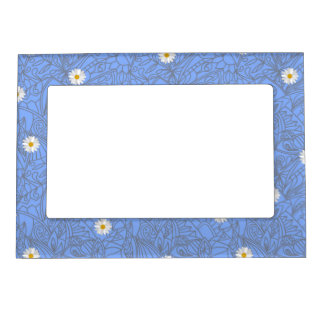 Blue daisies striped pattern. Wedding style Magnetic Picture Frame