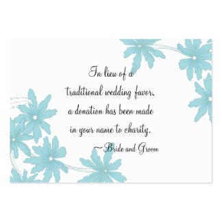 Blue Daisies Wedding Charity Favor Card Large Business Cards (Pack Of 100)