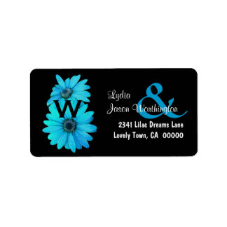 Blue Daisies Wedding Monogram B464 Label