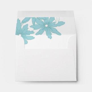 Blue Daisies Wedding RSVP Response Card Envelope
