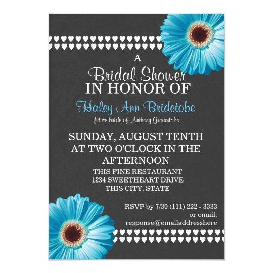 Blue Daisy and Slate Grey Bridal Shower Card