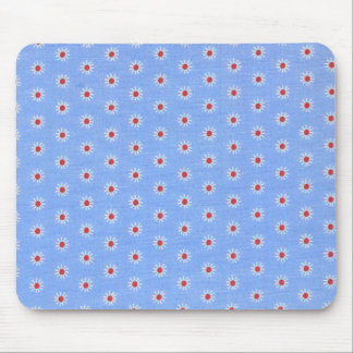 Blue Daisy Antique Fabric Mouse Pad