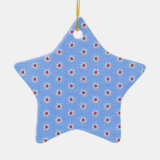 Blue Daisy Antique Fabric Christmas Tree Ornament