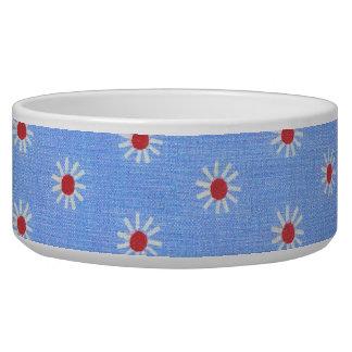 Blue Daisy Antique Fabric Pet Food Bowl