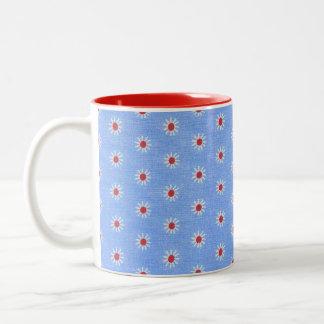 Blue Daisy Antique Fabric Two-Tone Coffee Mug