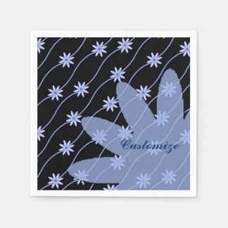 Blue Daisy Chain Floral Pattern Napkins