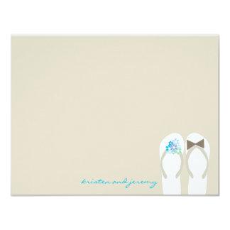 Blue Daisy Flip Flops Beach Wedding Thank You Card