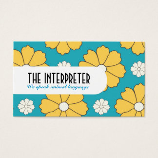 Blue Daisy Floral Pattern Business Card