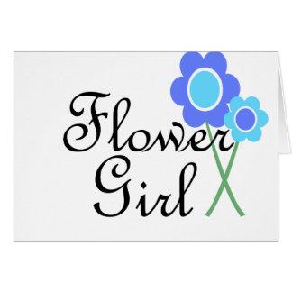 Blue Daisy Flower Girl Card