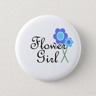 Blue Daisy Flower Girl Pinback Button