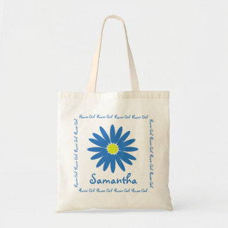 Blue Daisy Flower Girl Tote Bag