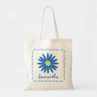 Blue Daisy Flower Girl Tote Bag
