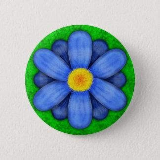 Blue Daisy Flower on Green Beautiful Button