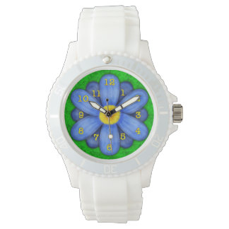 Blue Daisy Flower on Green Beautiful Watch