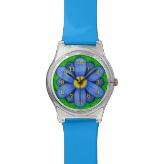 Blue Daisy Flower on Green Beautiful Wrist Watch