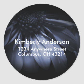 Blue Daisy Flower Return Address Labels Classic Round Sticker