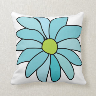 Blue Daisy Flower Square Pillow