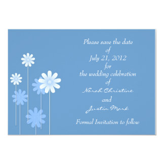 Blue Daisy Formal Save The Date Postcard 5x7 Paper Invitation Card