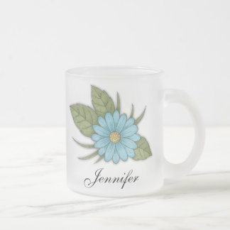 Blue Daisy Frosted Glass Coffee Mug