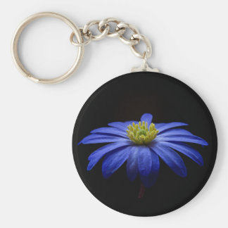 Blue Daisy Gerbera Flower on a Black background Keychain