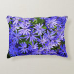 Blue Daisy-like Flowers Nature Photography Accent Pillow