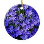 Blue Daisy-like Flowers Nature Photography Ceramic Ornament