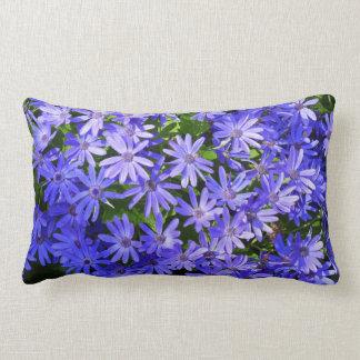 Blue Daisy-like Flowers Nature Photography Lumbar Pillow