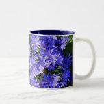 Blue Daisy-like Flowers Two-Tone Coffee Mug