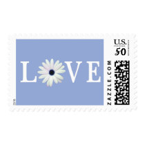 Blue Daisy Love Postage Stamps