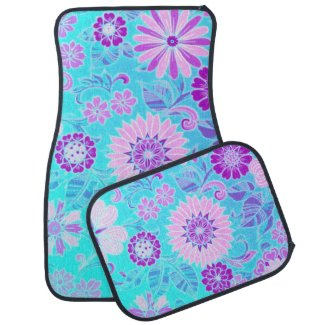 Blue Daisy Retro Print Car Mat