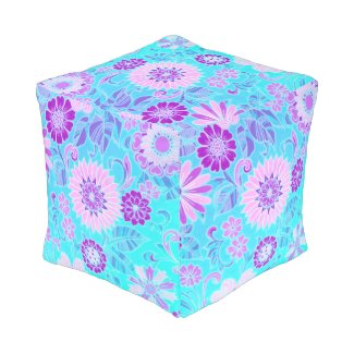 Blue Daisy Retro Print Cube Pouf