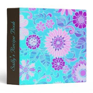 Blue Daisy Retro Print Custom Binder