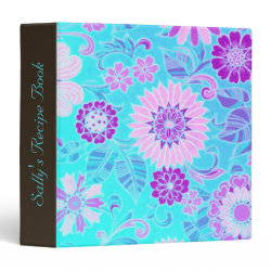 Blue Daisy Retro Print Recipe Binder