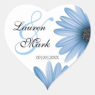 Blue Daisy Save the Date Heart Sticker