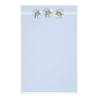 Blue Daisy Stationery Paper Botanical Flower Art