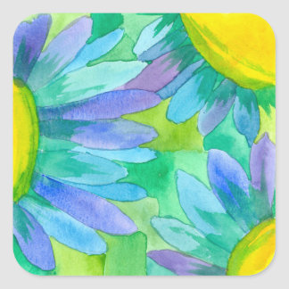 Blue Daisy Watercolor Flowers Square Sticker