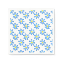 Blue Daisy Watercolor Pattern Napkin