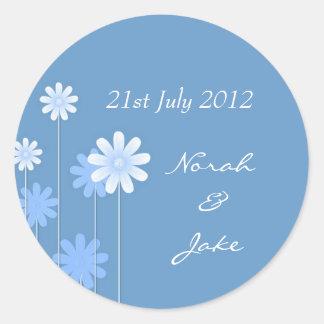 Blue Daisy Wedding Envelope Seal Classic Round Sticker