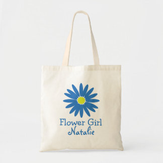 Blue Daisy with Customizable Text Budget Tote Bag