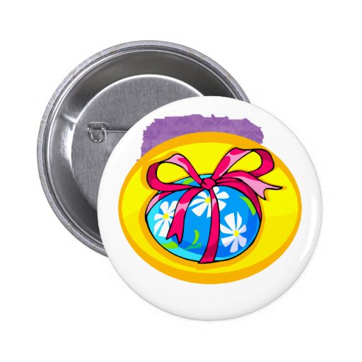blue daisy wrapped easter egg yellow oval.png 2 inch round button