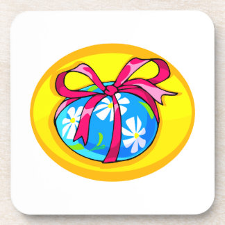 blue daisy wrapped easter egg yellow oval.png drink coaster