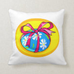 blue daisy wrapped easter egg yellow oval.png pillows