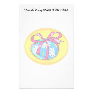 blue daisy wrapped easter egg yellow oval.png stationery