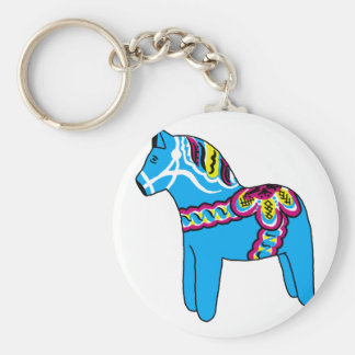 Blue Dala Horse Key Chain