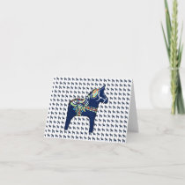 Blue Dala Horse Note Card