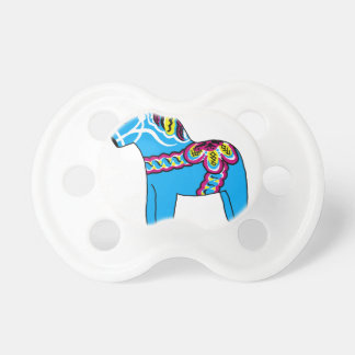 Blue Dala Horse Baby Pacifiers