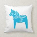 Blue Dala Horse Throw Pillows