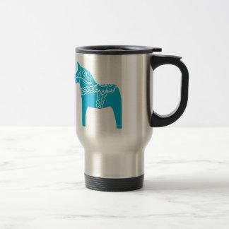 Blue Dala Horse Travel Mug