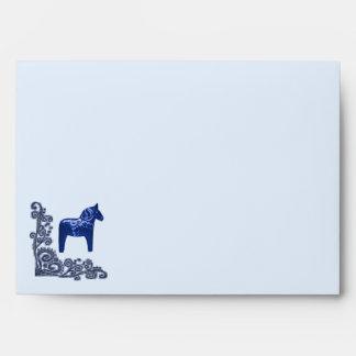 Blue Dala Horse with Corner Scroll Envelopes