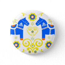 Blue Dala Horses Pinback Button
